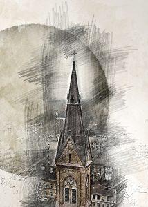 Шпиль церкви Лютера в Риге